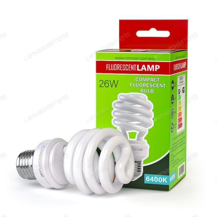 Spiralleuchtstofflampe, Energiesparlampe mit grüner Box isoliert auf weiß.