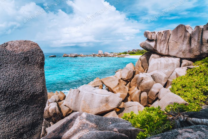 Hidden secluded beautiful beach on La Digue, Seychelles