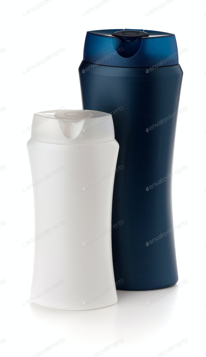 White and blue shampoo bottles