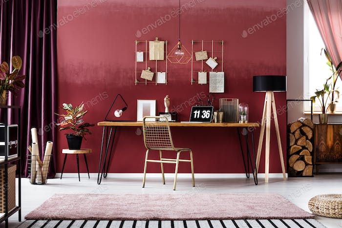 Pink workspace interior