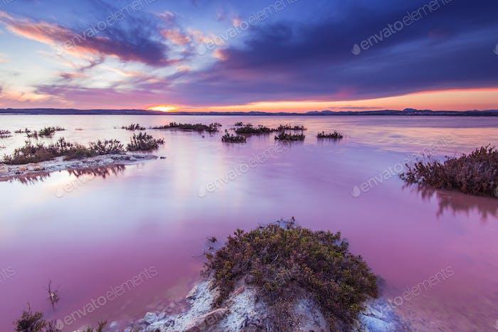 Laguna Salada in Torrevieja, Spanien. Gesalzener See bei Sonnenuntergang.