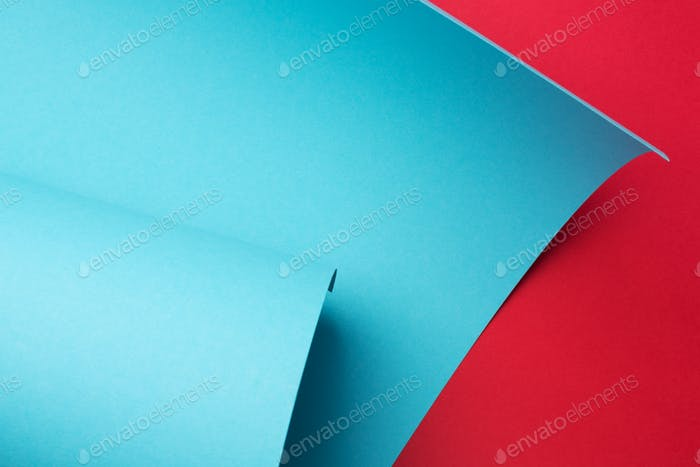 Curve Paper Red and Blue Abstract Geometric Background