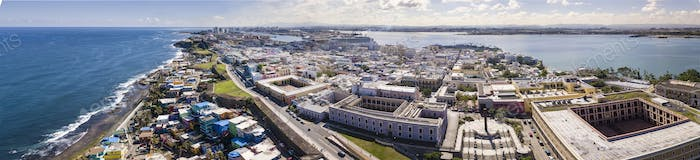 180 degree aerial panorama of Old San Juan, Puerto Rico with har
