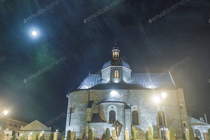 medieval church in night