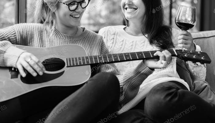 Women enjoying the music together