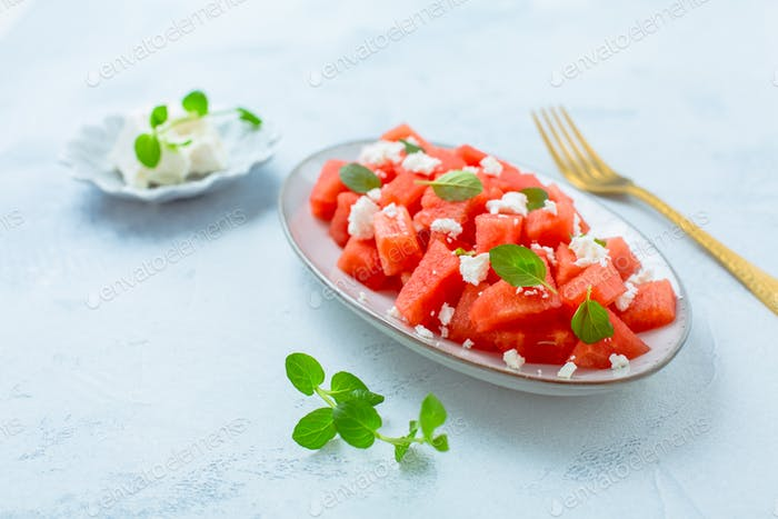 Summer salad with watermelon, feta cheese and mint
