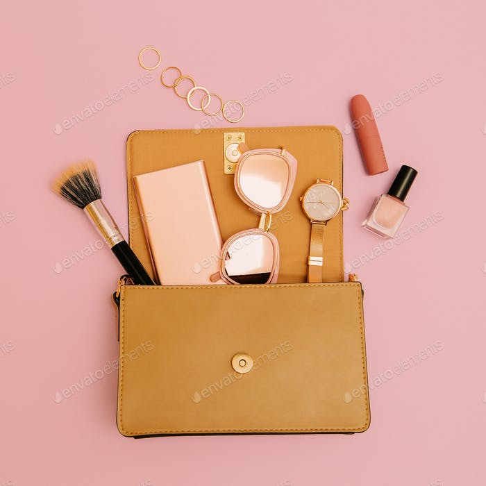 Beige bag Lady cosmetics and accessories. Fashion concept