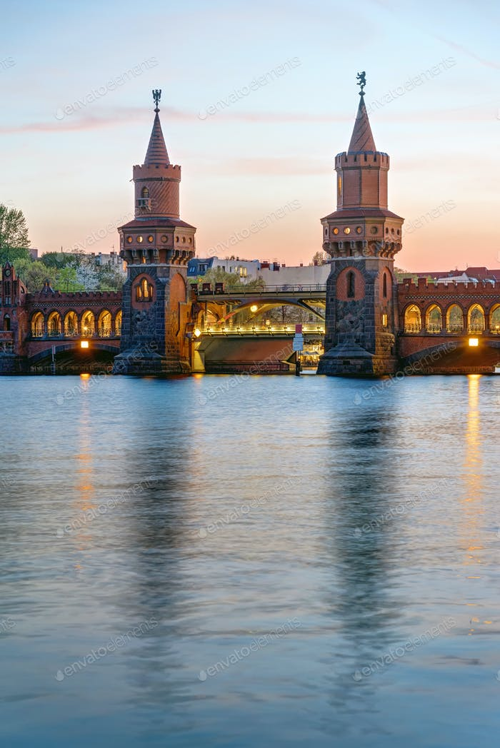 The Oberbaumbridge and the river Spree