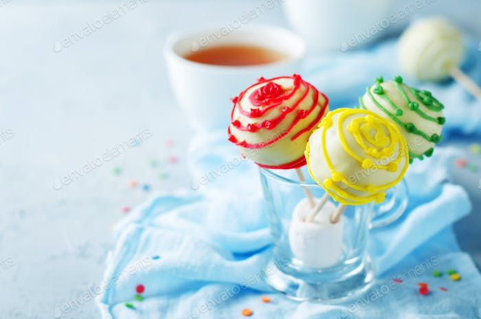 Cake pops in a glass