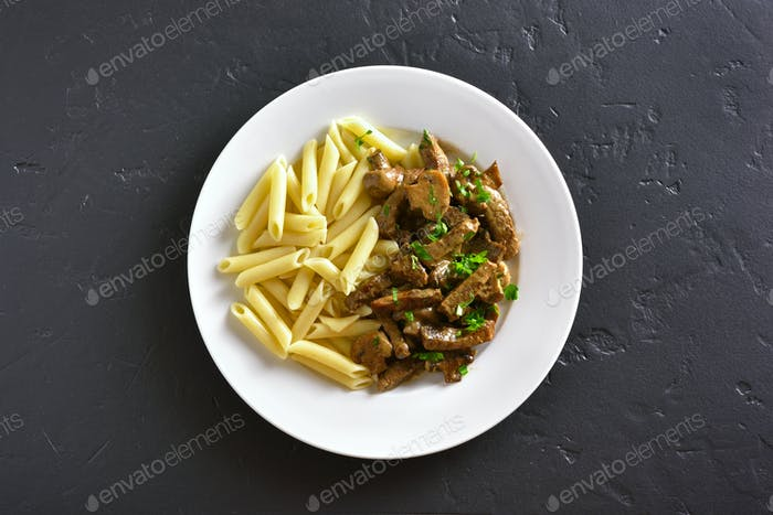 Beef stroganoff and pasta