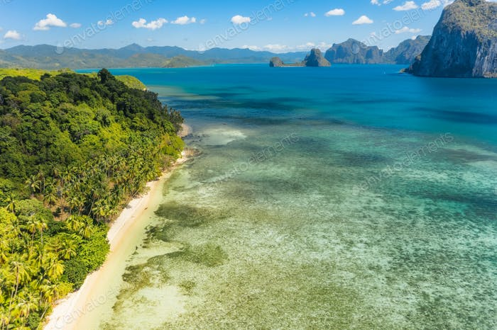 Aerial top view Las Cabanas beach in El Nido, Palawan, Philippines