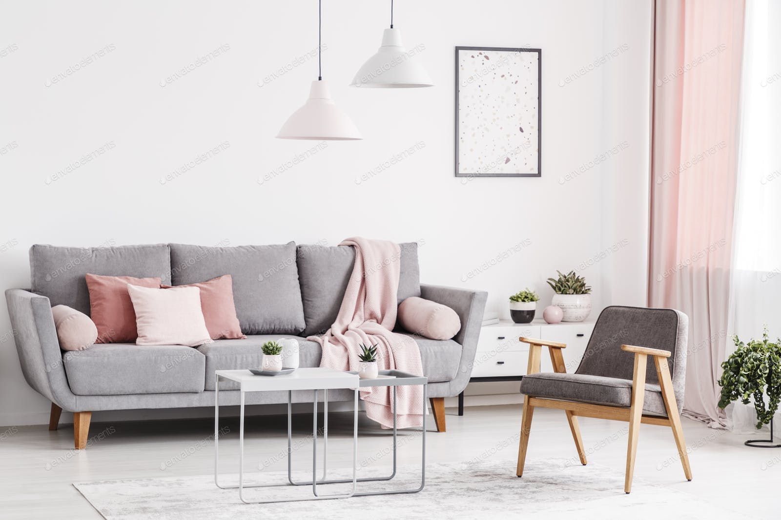 Retro Armchair Grey Sofa With Pink Pillows And Coffee Tables In Photo By Bialasiewicz On Envato Elements