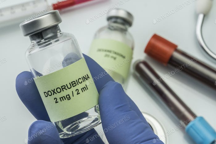 Doctor subject vial with doxorubicin, medication used for disease of leukemia linfatica acute