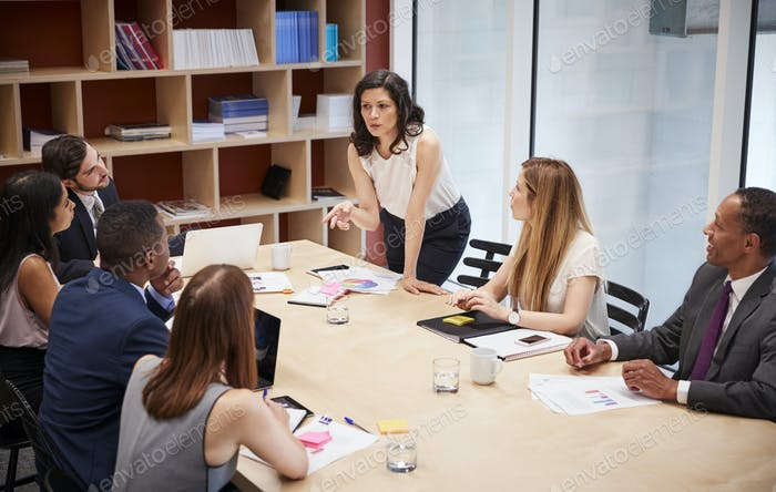Female manager stands addressing team at boardroom meeting