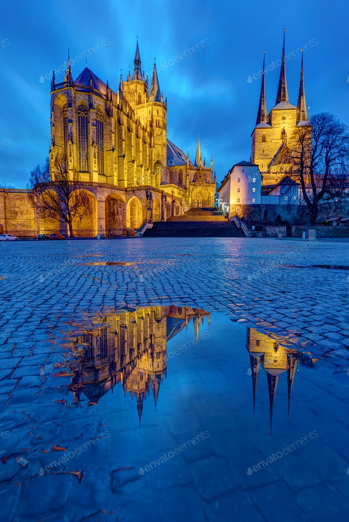The famous Cathedral and Severi church in Erfurt