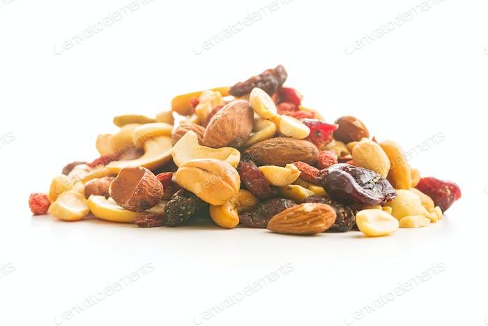 Mix of various nuts and raisins.
