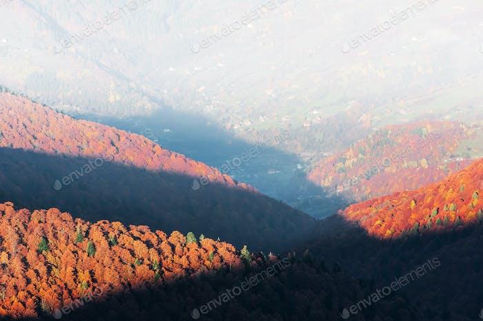 Amazing rural scene on autumn valley
