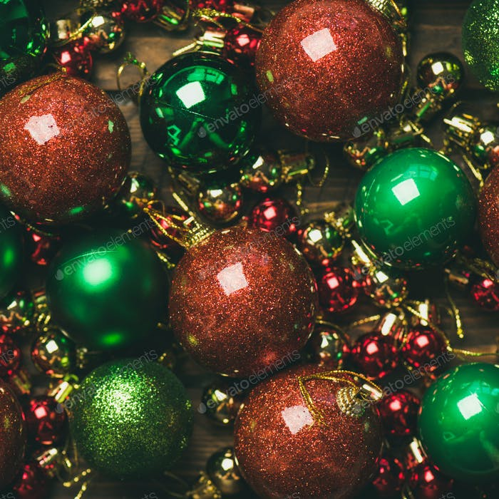 Colorful christmas tree decoration balls, top view, square crop