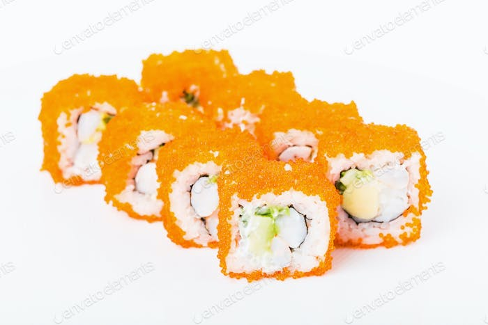 Delicious sushi roll with snow crab.
