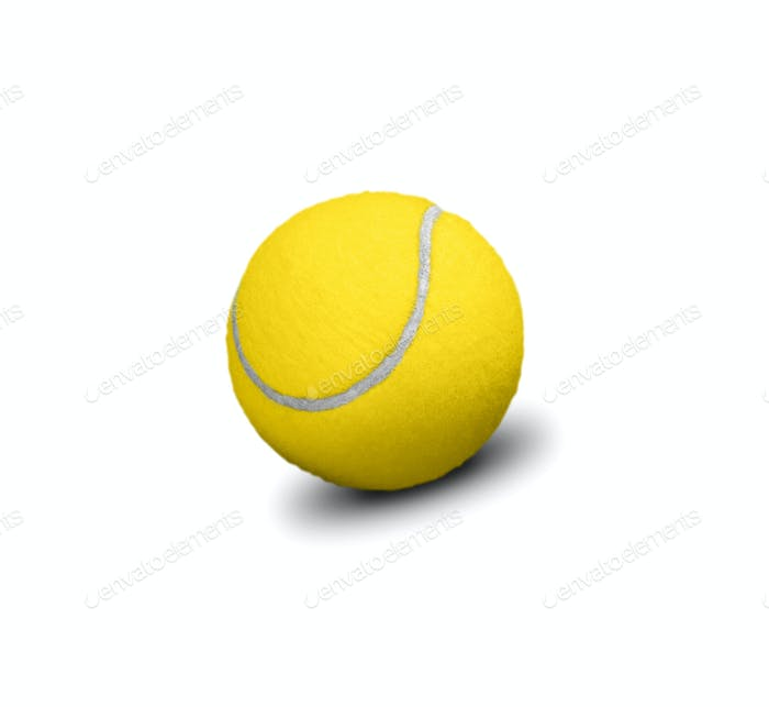 Yellow tennis ball isolated on white