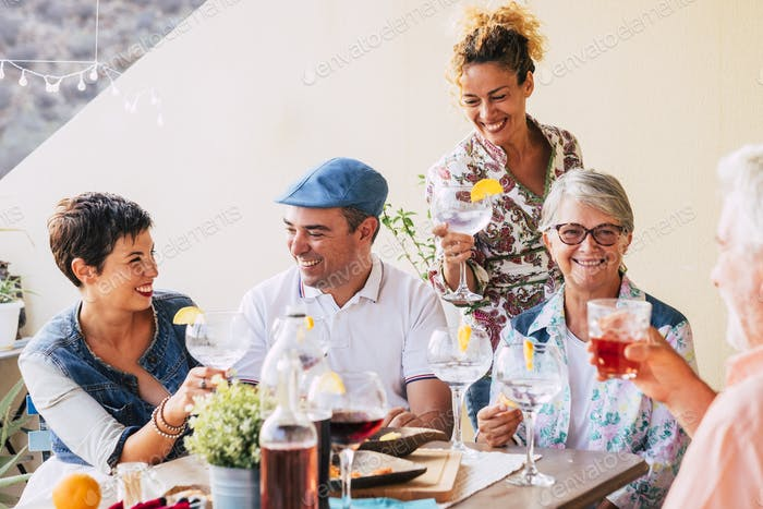 Group of caucasian cheerful happy people together