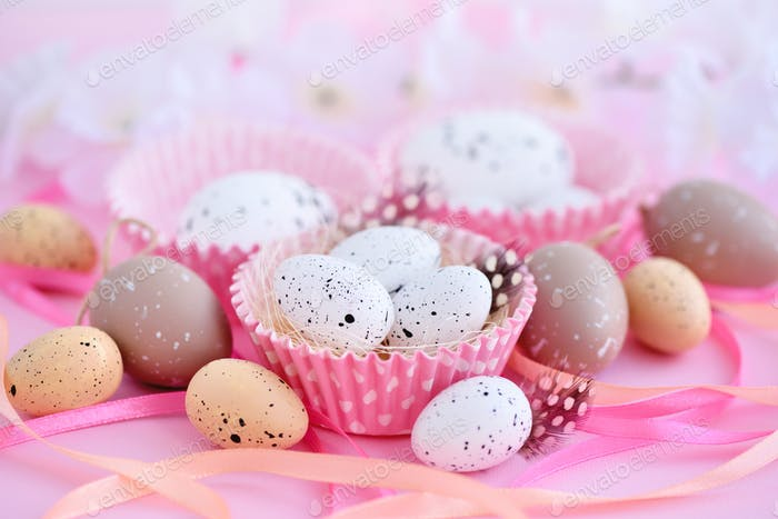 Festive easter background with eggs and ribbons