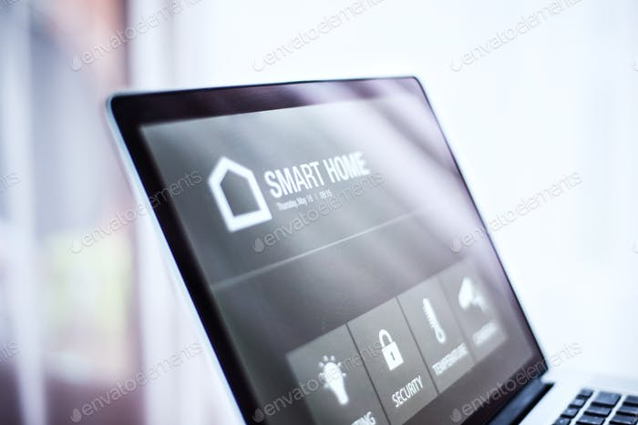 A laptop with smart home screen.