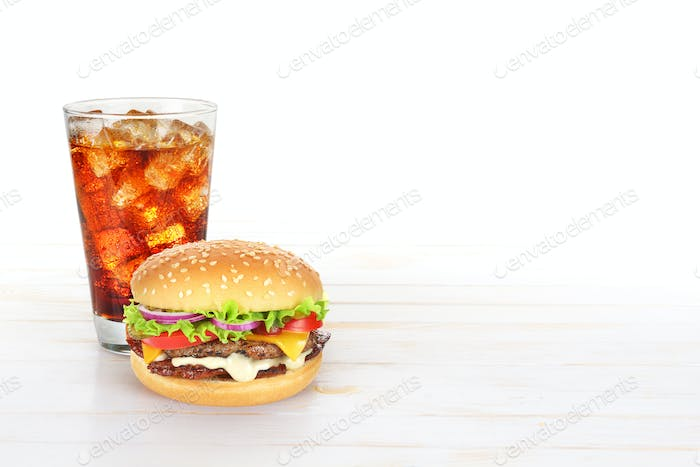 Hamburger and glass of cola