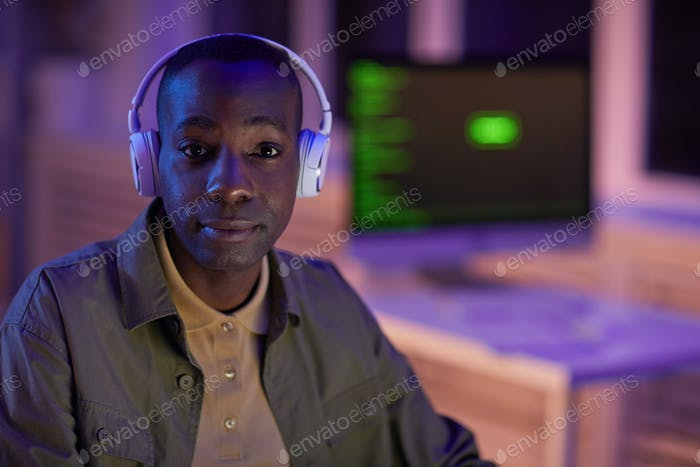 African American Guy In Headphones