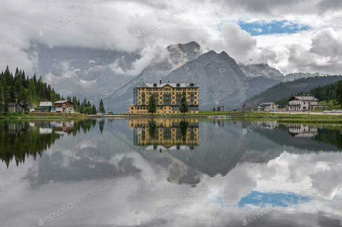 Cloudy day at lake Misurina in Dolomites, Italy