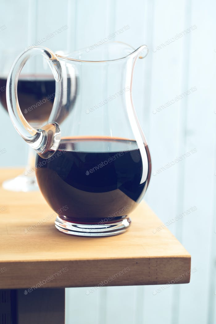 pitcher of red wine