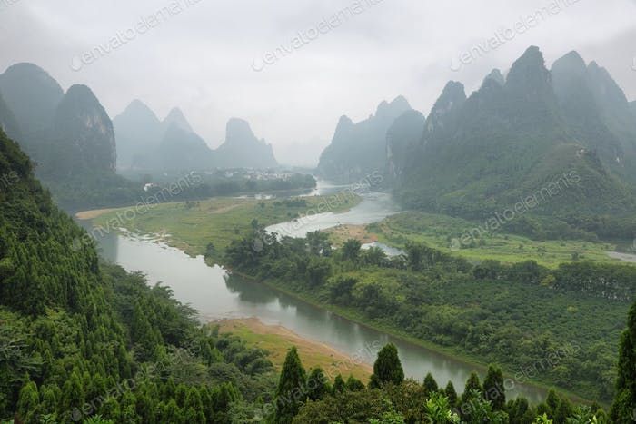 Karst mountains around Li river from Tangjiao nunnery