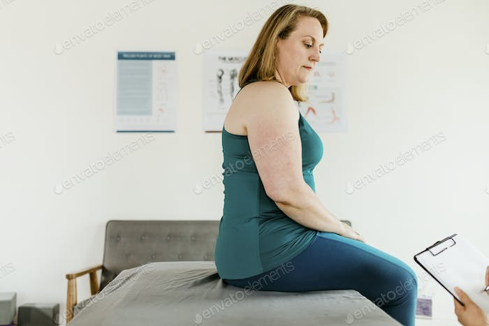 Woman at the doctors office