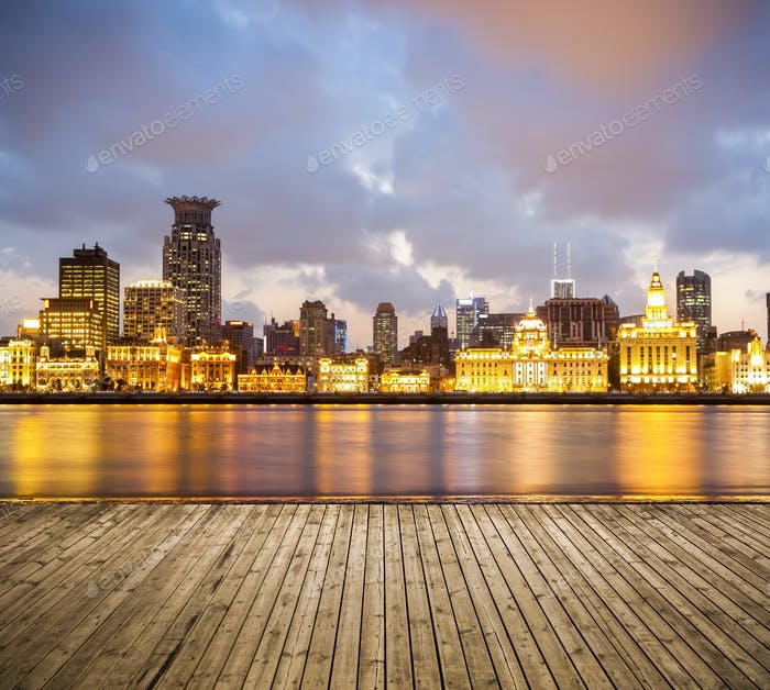 beautiful shanghai bund in sunset