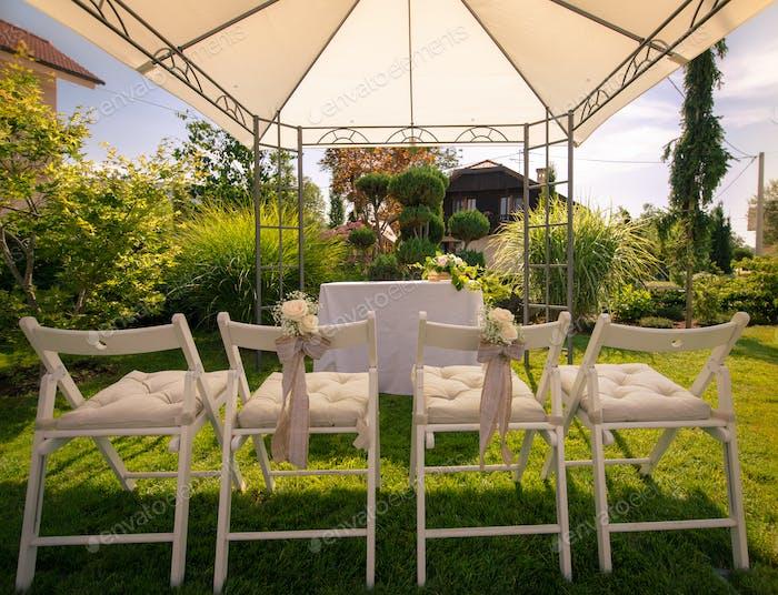 Outdoor setup for wedding reception