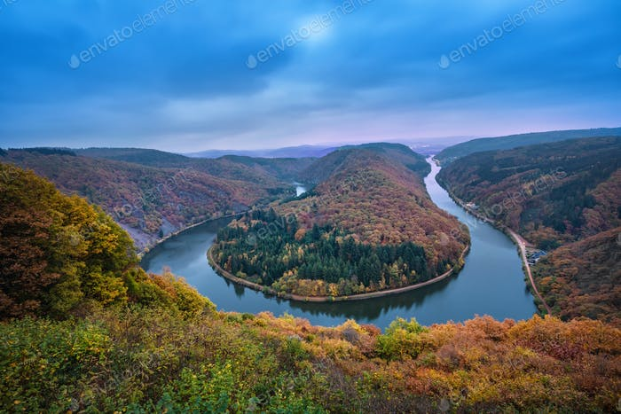Saarschleife, Germany - famous landscape with river bend