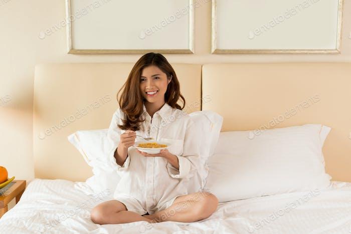 Having Breakfast at Bedroom
