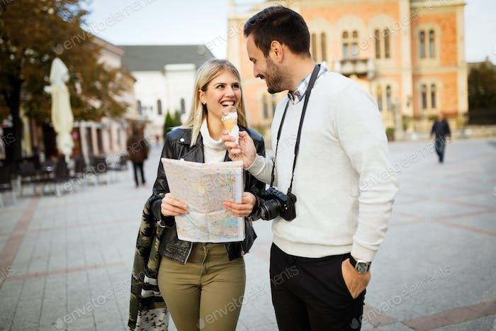 Tourist couple enjoying sightseeing