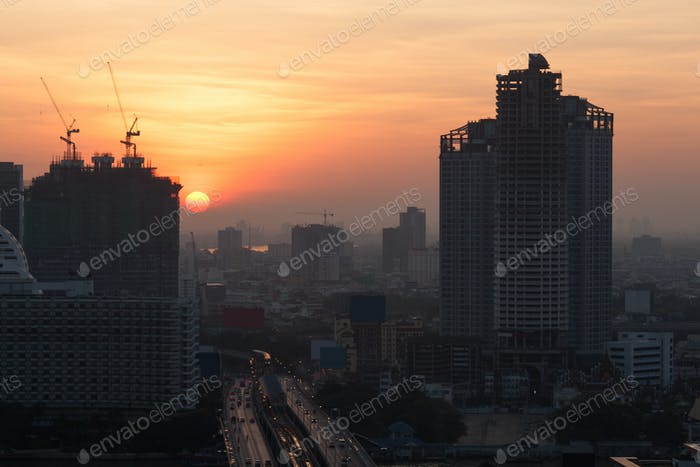 Morning coming to Bangkok city, Thailand