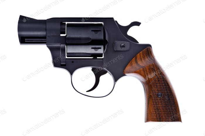 Schwarzer Revolver isoliert auf weißem Hintergrund