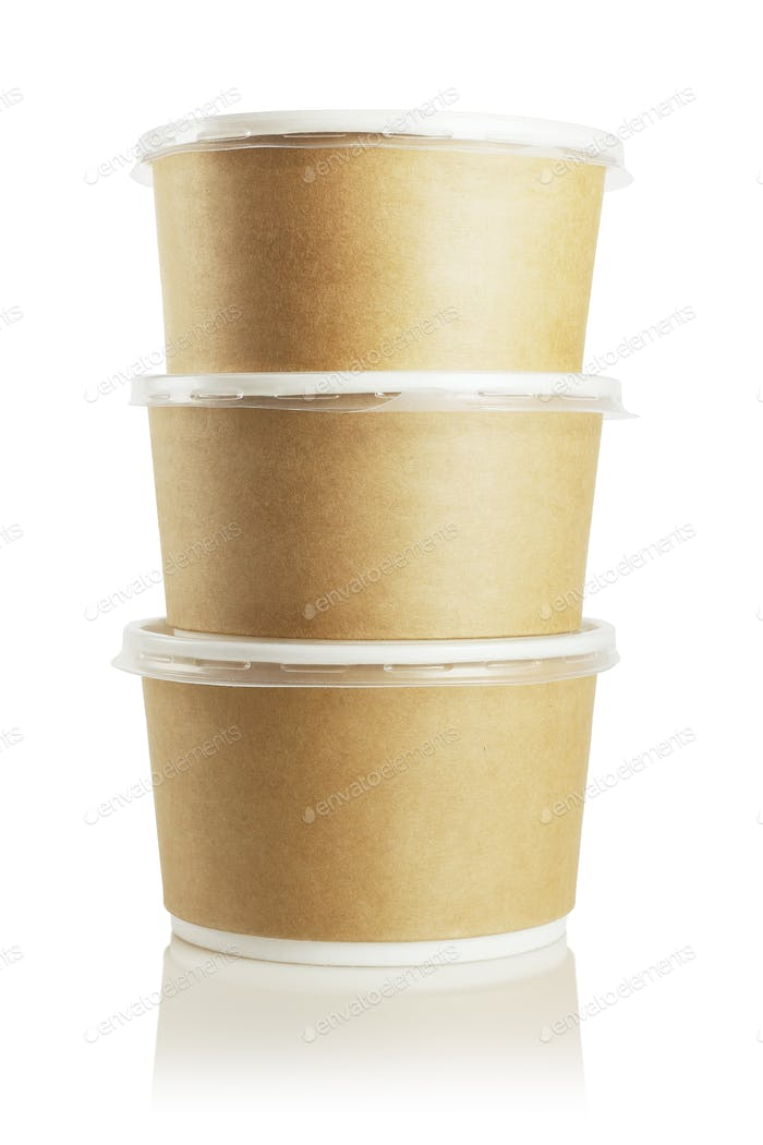 Three Paper Containers
