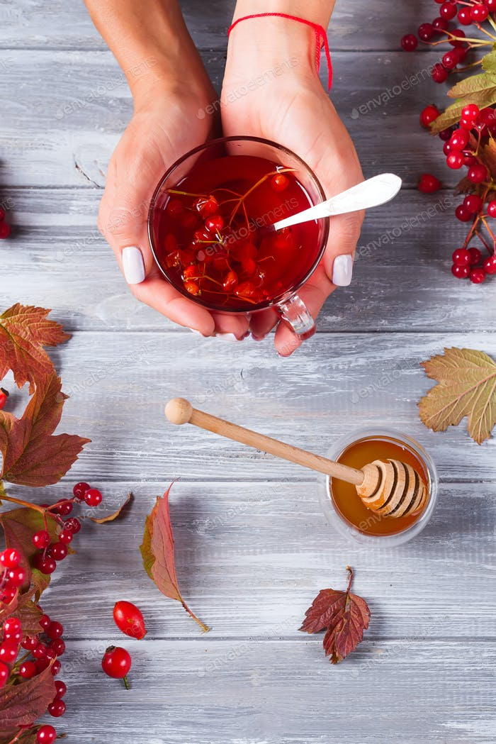Female hands hold a cup of tea with honey on a gray wooden background decorated with autumn berries