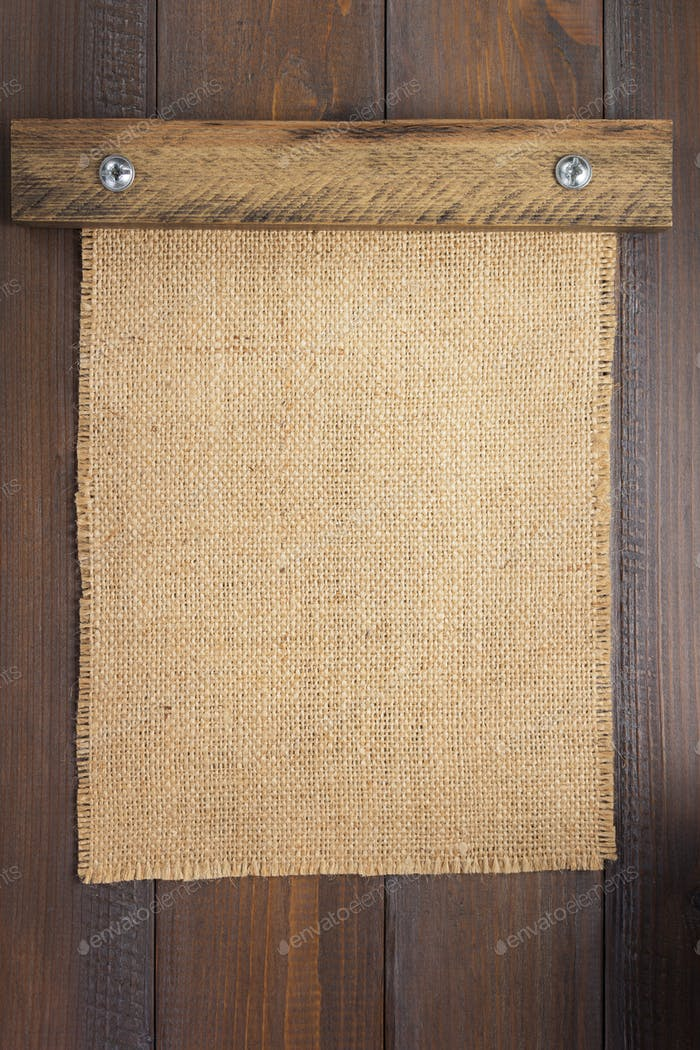 burlap hessian sacking texture on wood
