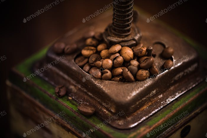 Vintage coffee grinder close up view
