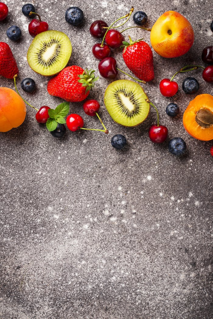Fruits and berries summer background