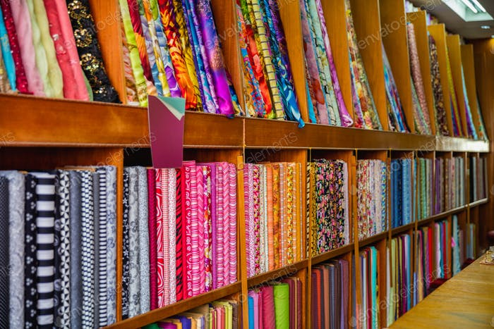 Colorful Asian Fabric And Textiles In Store