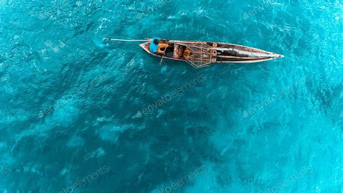 fishing in wooden dhow, Zanzibar