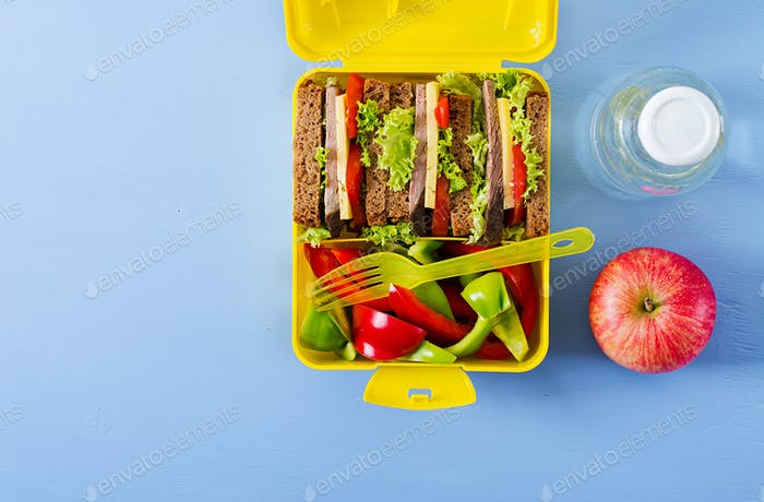 Healthy school lunch box with beef sandwich and fresh vegetables