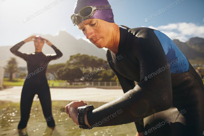 Triathletes practicing for race