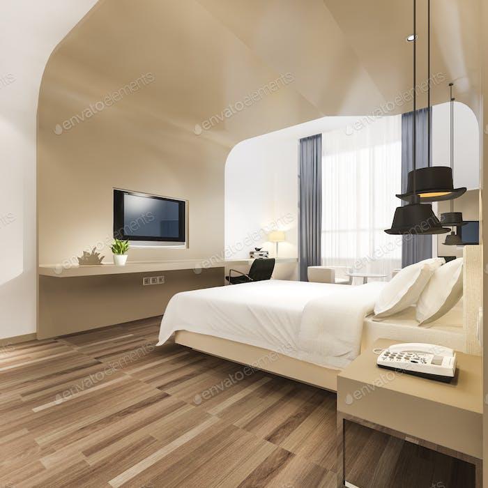 3d рендеринг красивый люкс люкс люкс в отеле с телевизором и рабочим столом